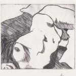 o.T., Kaltnadel, auf Plexiglas gedruckt auf Büttenpapier, 17,7x12,5cm, 2014