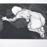 o.T., Strichätzung, Vernis Mou, Aquatinta, auf Zink gedruckt auf Büttenpapier, 22,7x16,8cm, 2014