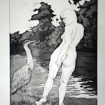 o.T., Strichätzung, Vernis Mou, Kaltnadel, Aquatinta, auf Zink gedruckt auf Büttenpapier, 44x63cm, 2014