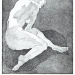 o.T., Vernis Mou, Aquatinta, auf Zink gedruckt auf Büttenpapier, 17,2x19,4cm, 2016