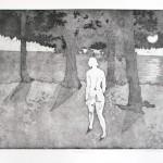 o.T., Strichätzung, Aquatinta, Schabkunst, auf Zink, gedruckt auf Büttenpapier, 60x40cm, 2016