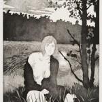 o.T., Kaltnadel, Aquatinta, auf Zink, gedruckt auf Büttenpapier, 40x60cm, 2016