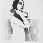 Die Badenden I, Lithographie vom Stein, auf Büttenpapier, 42x59,4cm, 2017