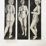 Installationsansicht, grazia I, II und III, Tusche auf Japanpapier, je 38x137 cm, 2019