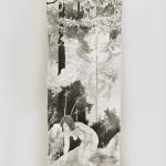 """Installationsansicht """"the path"""", Tusche auf Papierrolle, ca 1,5x7 m, 2019"""
