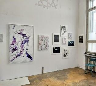 Ausstellungsansicht Kunstpunkte, Atelierhaus Höherweg, im Atelier von Paul Schwer, Düsseldorf, 2017